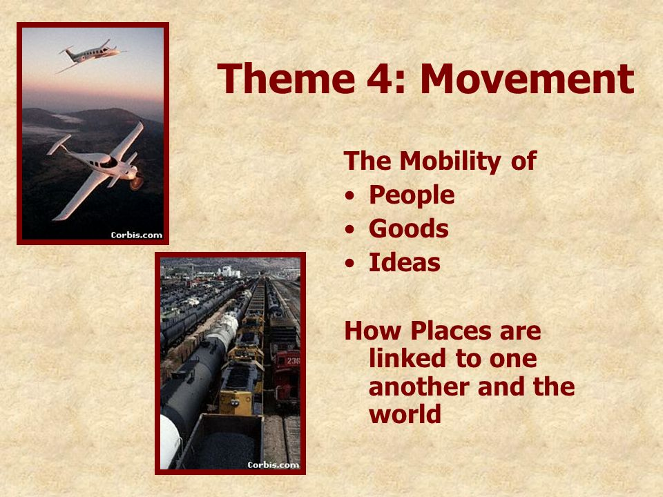 Theme 4: Movement The Mobility of People Goods Ideas