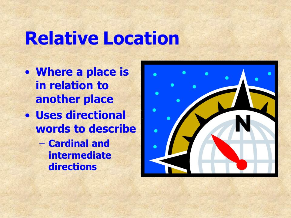 Relative Location Where a place is in relation to another place
