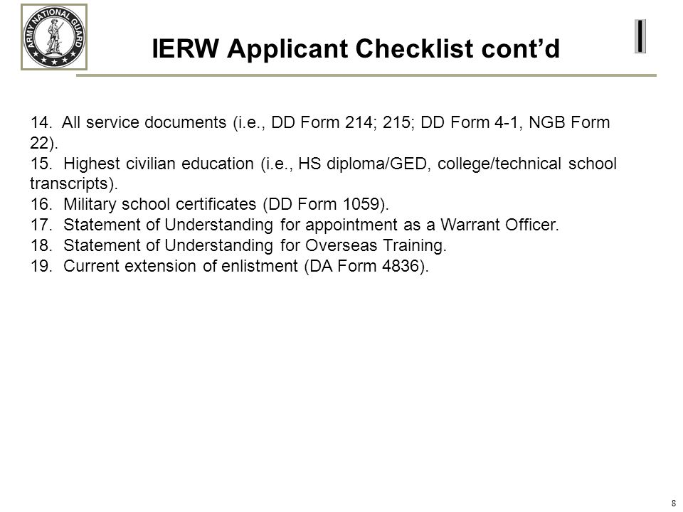 IERW Applicant Checklist cont'd