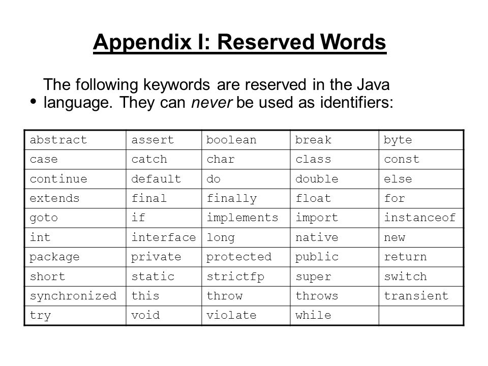 Appendix I: Reserved Words