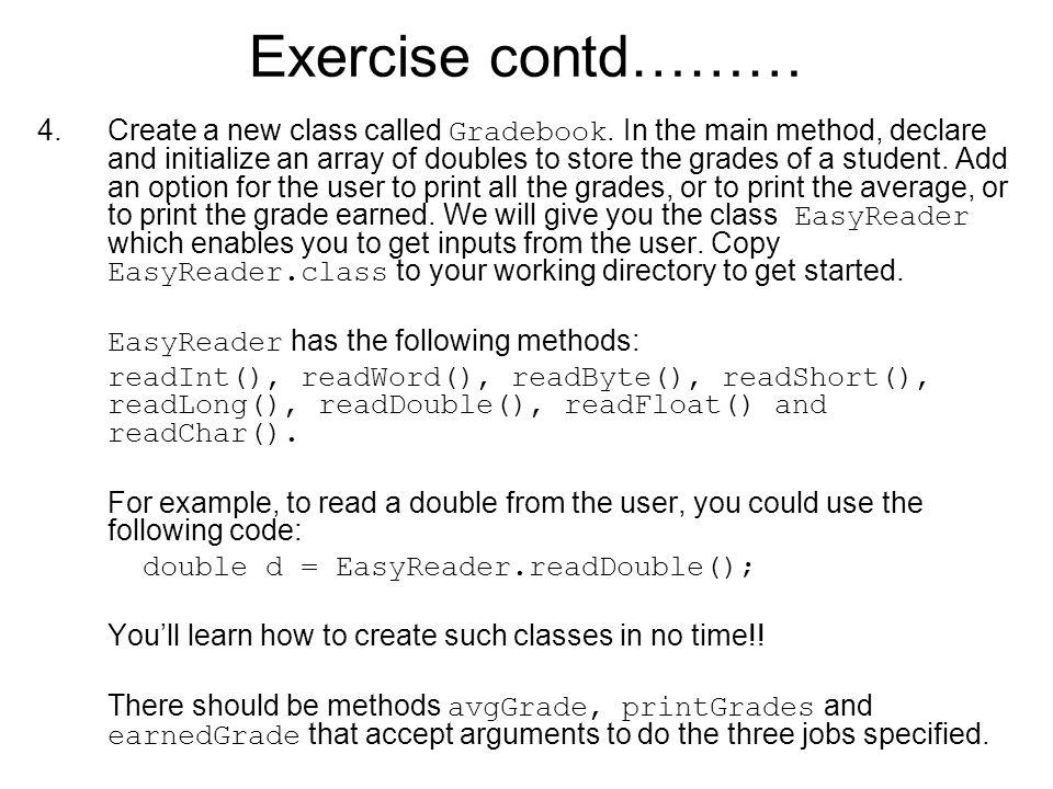 Exercise contd………