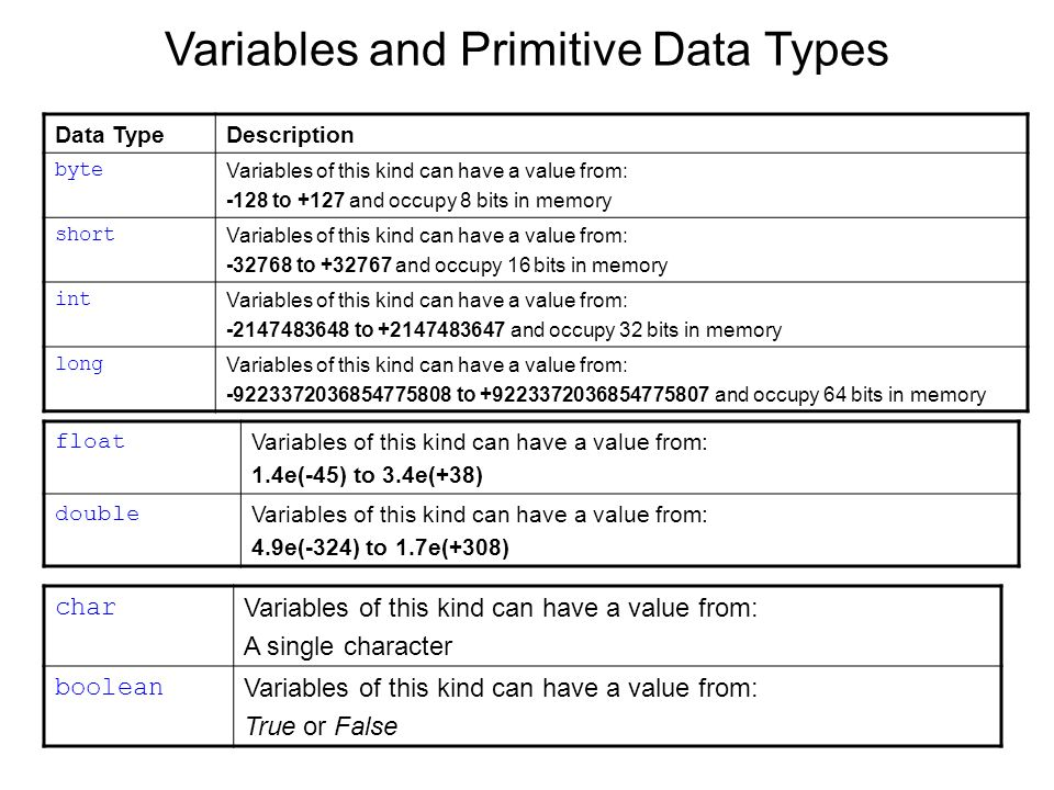 Variables and Primitive Data Types