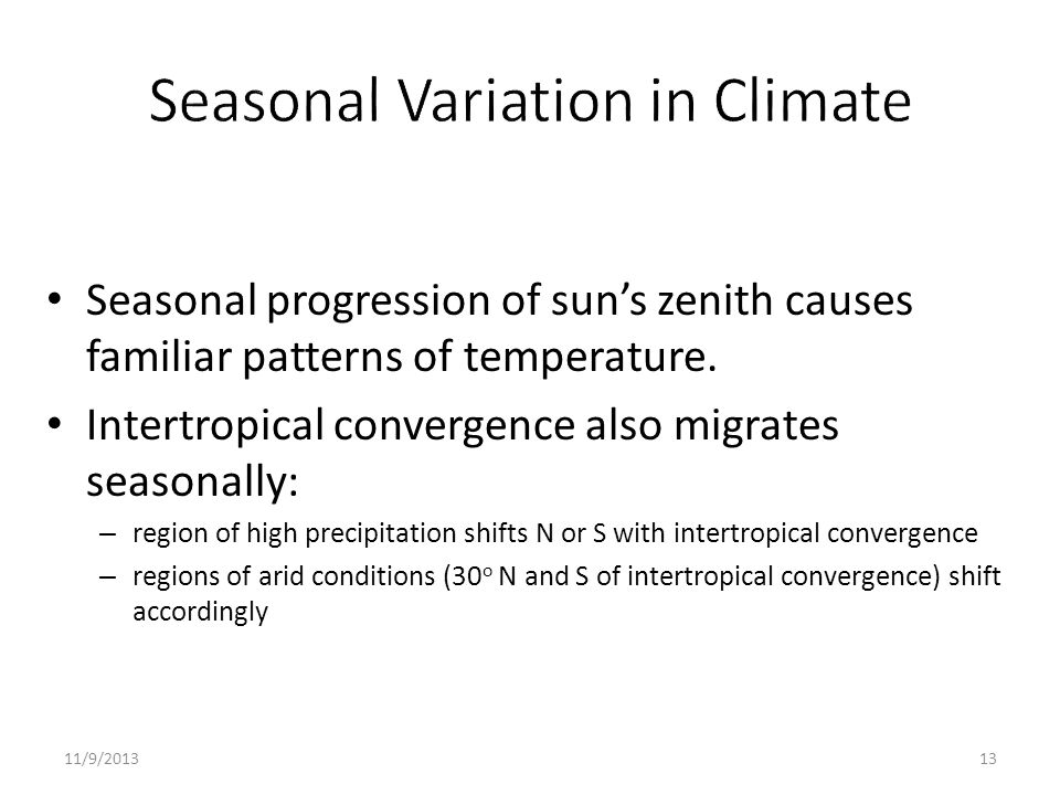 Seasonal Variation in Climate