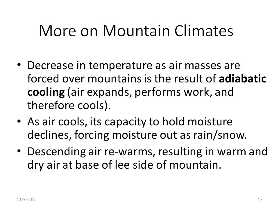 More on Mountain Climates