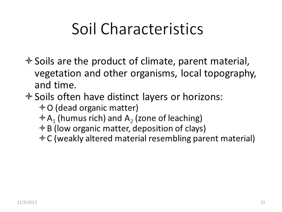 Soil Characteristics Soils are the product of climate, parent material, vegetation and other organisms, local topography, and time.