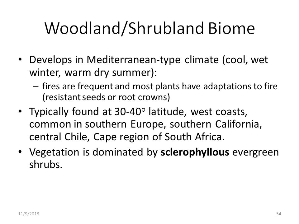 Woodland/Shrubland Biome