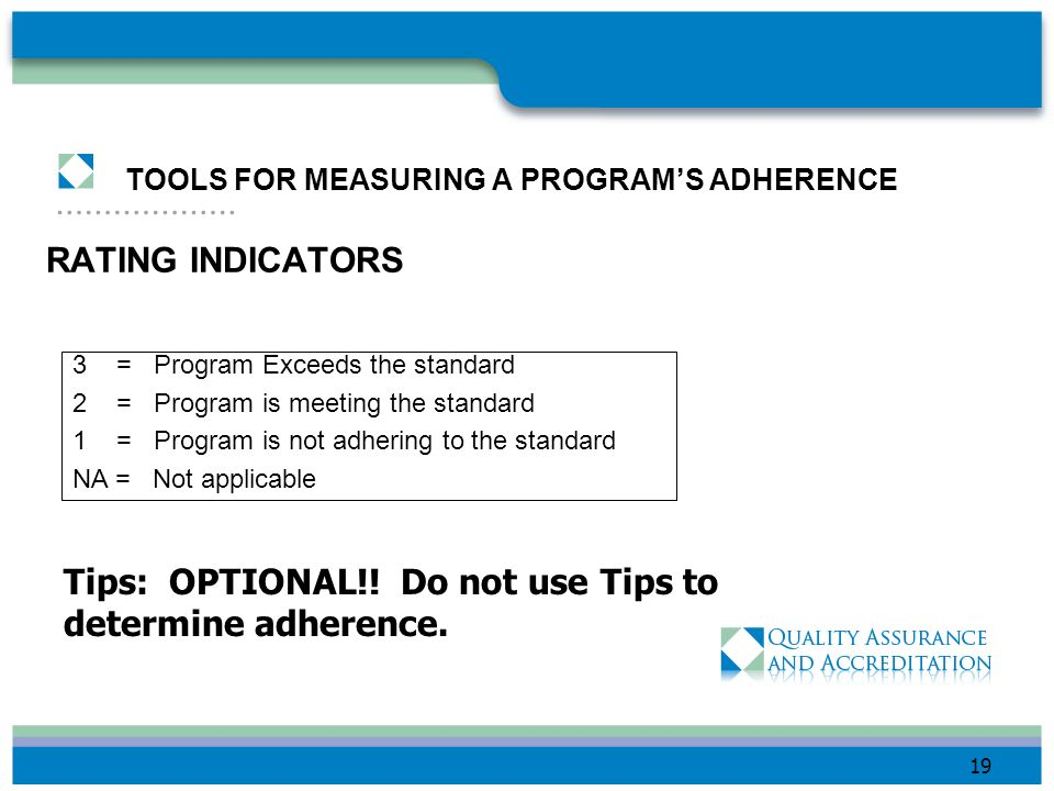 TOOLS FOR MEASURING A PROGRAM'S ADHERENCE