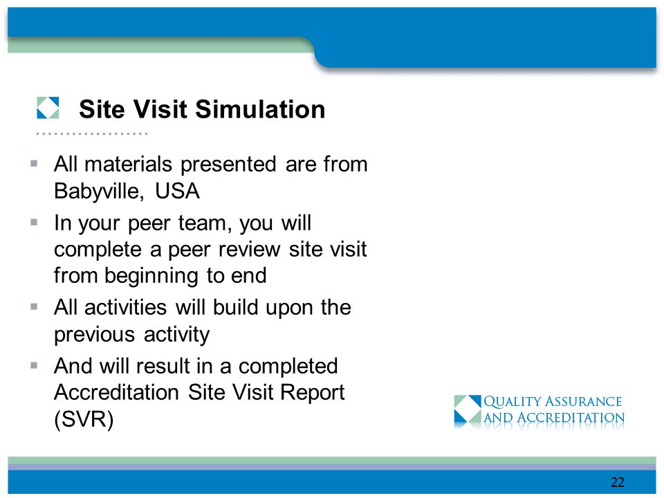 Site Visit Simulation All materials presented are from Babyville, USA