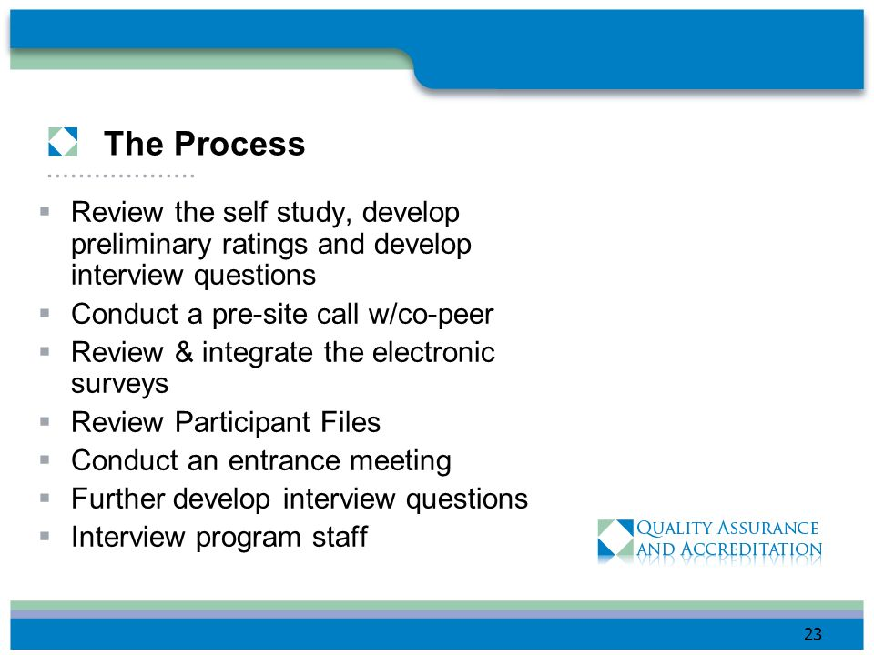 The Process Review the self study, develop preliminary ratings and develop interview questions. Conduct a pre-site call w/co-peer.