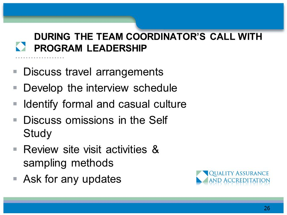 DURING THE TEAM COORDINATOR'S CALL WITH PROGRAM LEADERSHIP