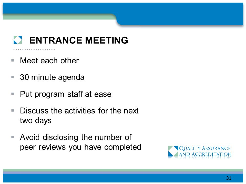 ENTRANCE MEETING Meet each other 30 minute agenda
