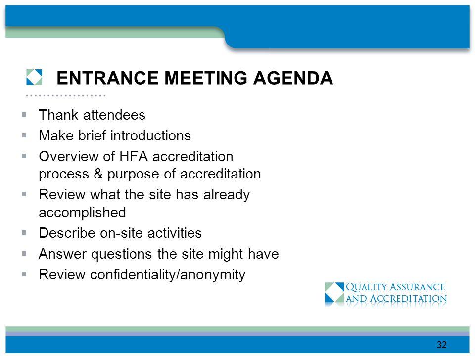 ENTRANCE MEETING AGENDA