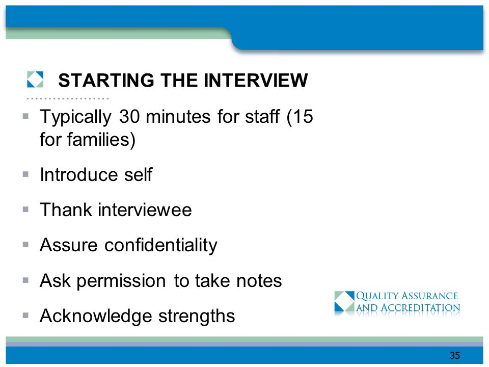 STARTING THE INTERVIEW