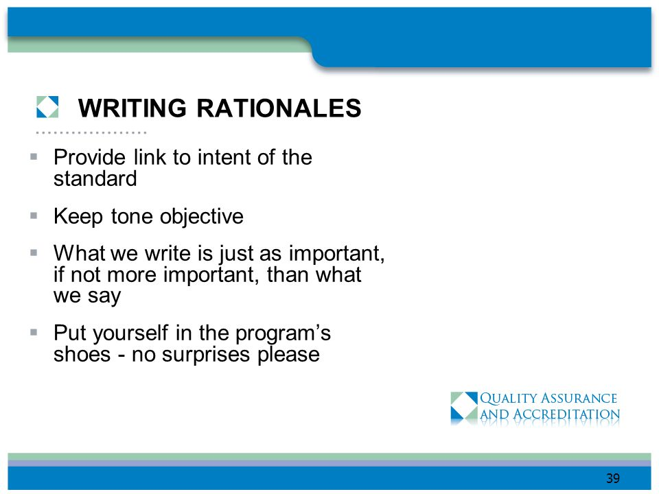 WRITING RATIONALES Provide link to intent of the standard