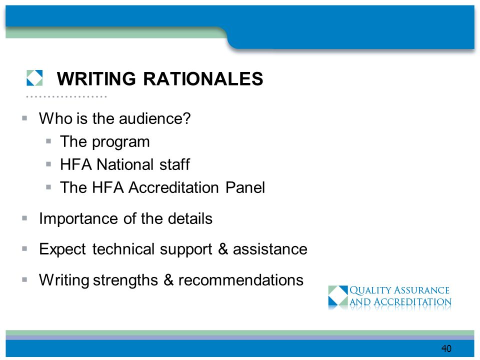 WRITING RATIONALES Who is the audience The program HFA National staff