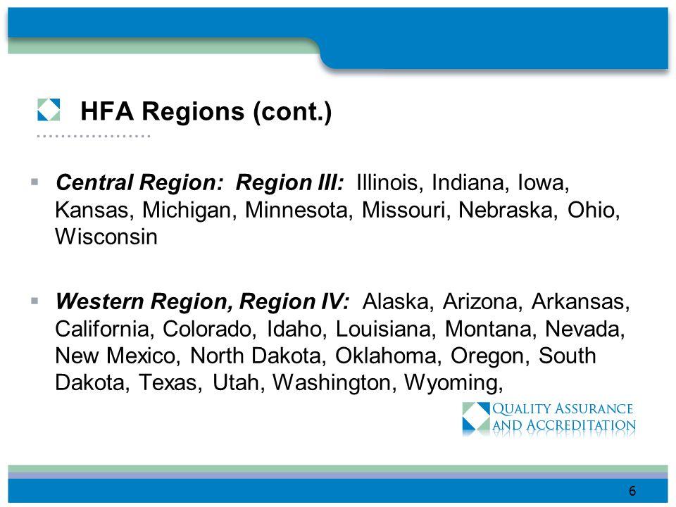 HFA Regions (cont.) Central Region: Region III: Illinois, Indiana, Iowa, Kansas, Michigan, Minnesota, Missouri, Nebraska, Ohio, Wisconsin.