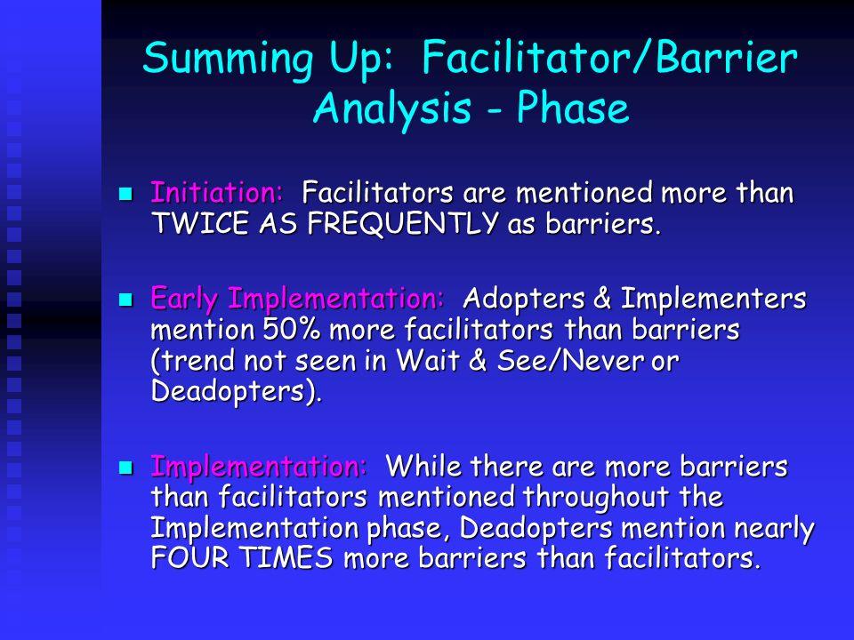 Summing Up: Facilitator/Barrier Analysis - Phase