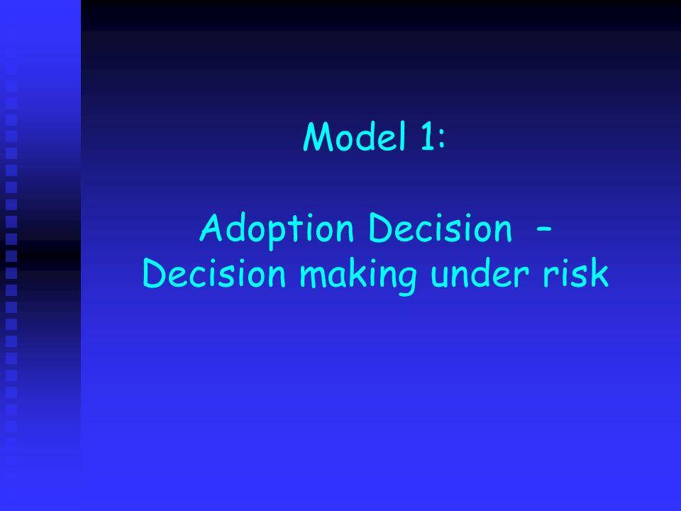 Model 1: Adoption Decision – Decision making under risk