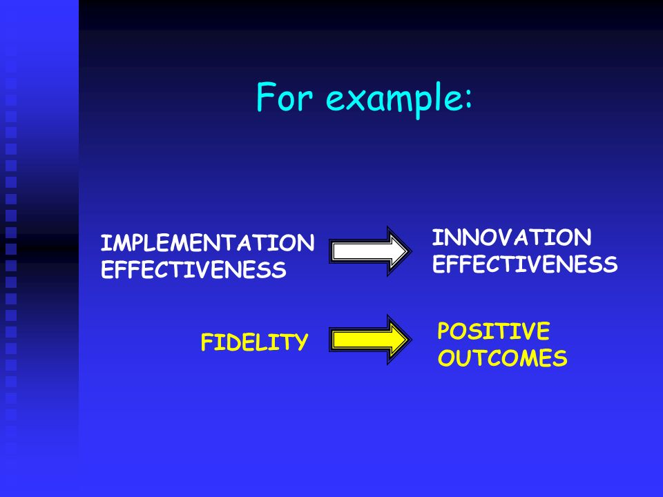 For example: INNOVATION EFFECTIVENESS IMPLEMENTATION EFFECTIVENESS