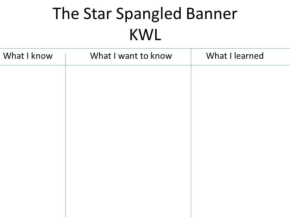 The Star Spangled Banner KWL