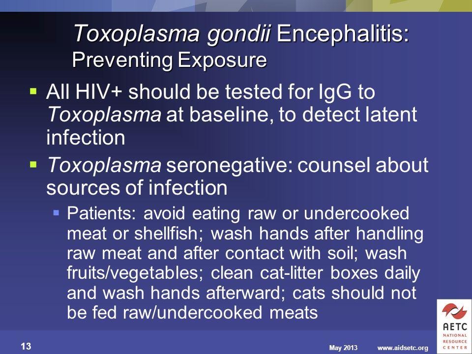 Toxoplasma gondii Encephalitis: Preventing Exposure