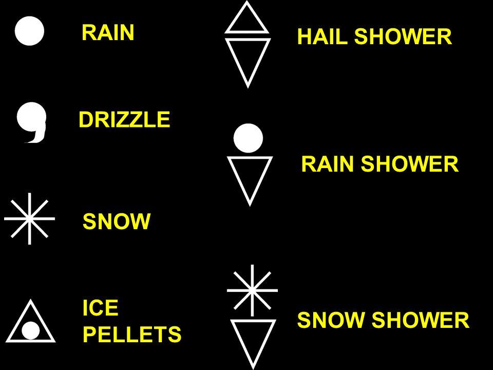 RAIN HAIL SHOWER DRIZZLE RAIN SHOWER SNOW ICE PELLETS SNOW SHOWER