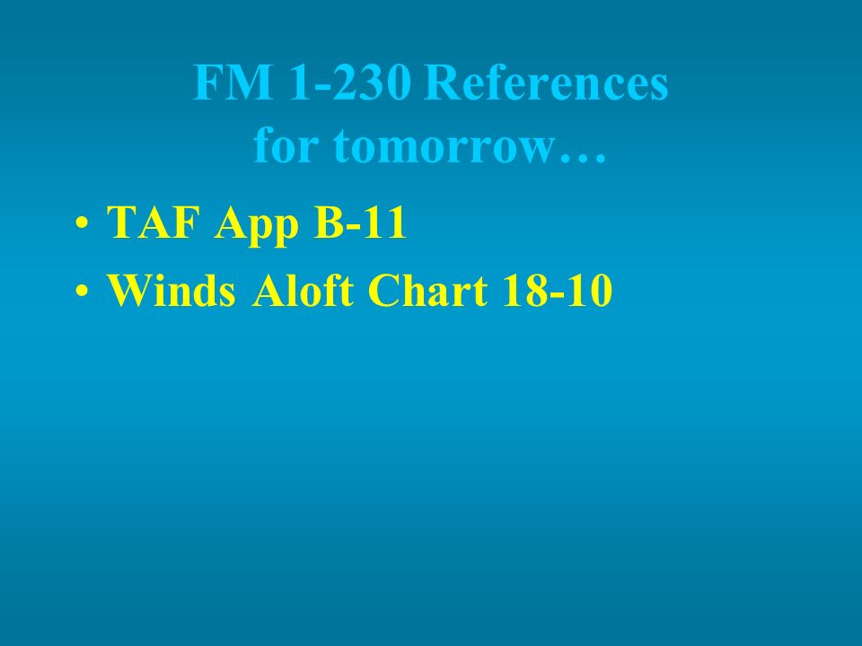 FM 1-230 References for tomorrow…