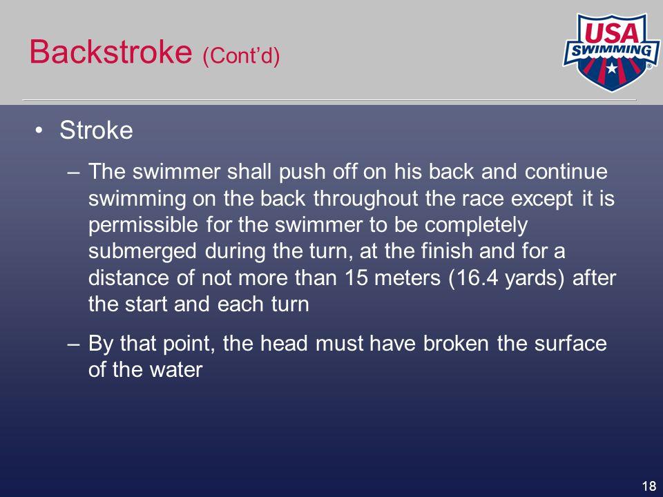 Backstroke (Cont'd) Stroke