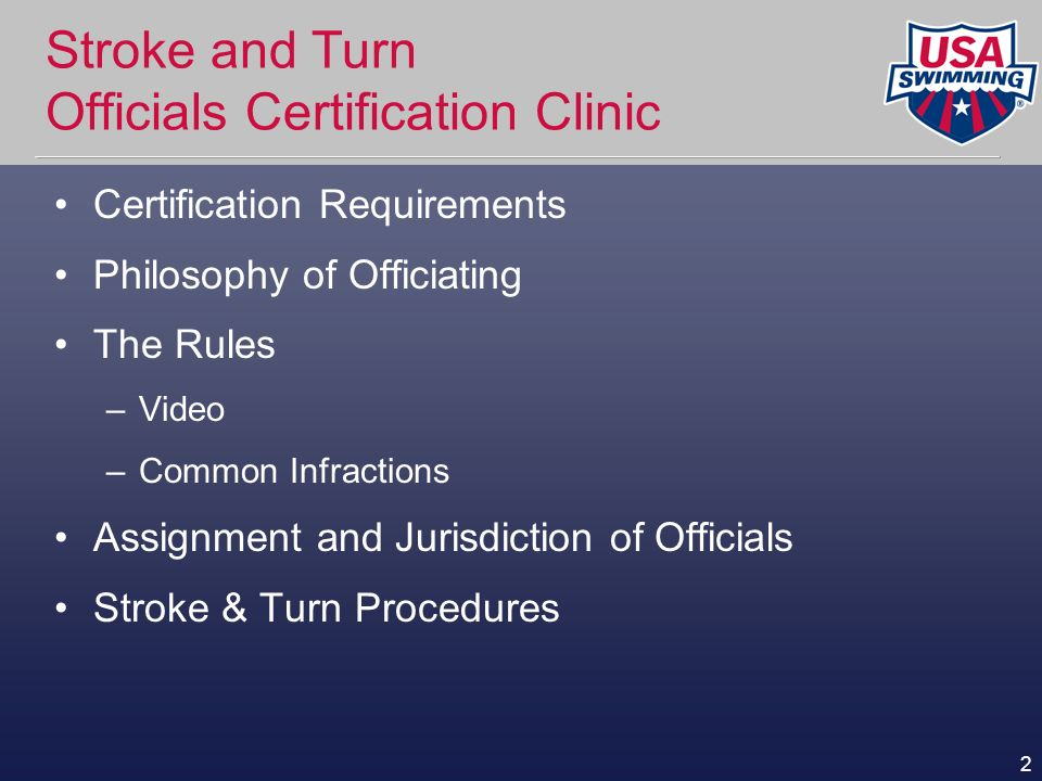 Stroke and Turn Officials Certification Clinic