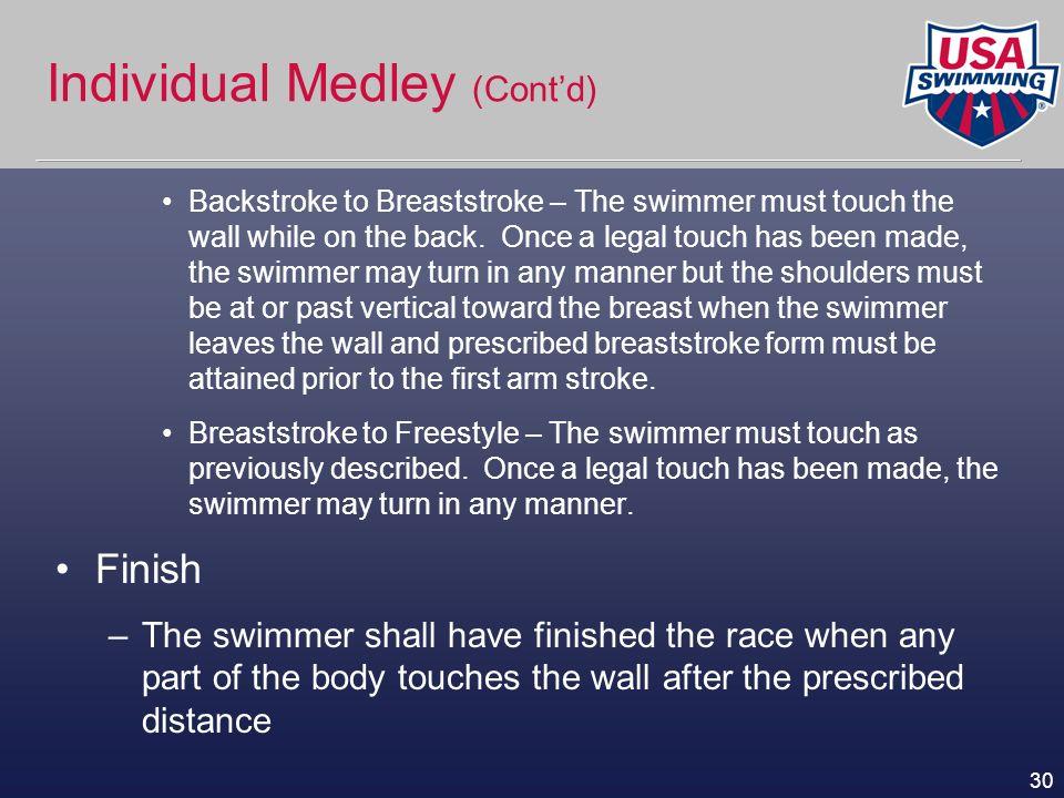 Individual Medley (Cont'd)