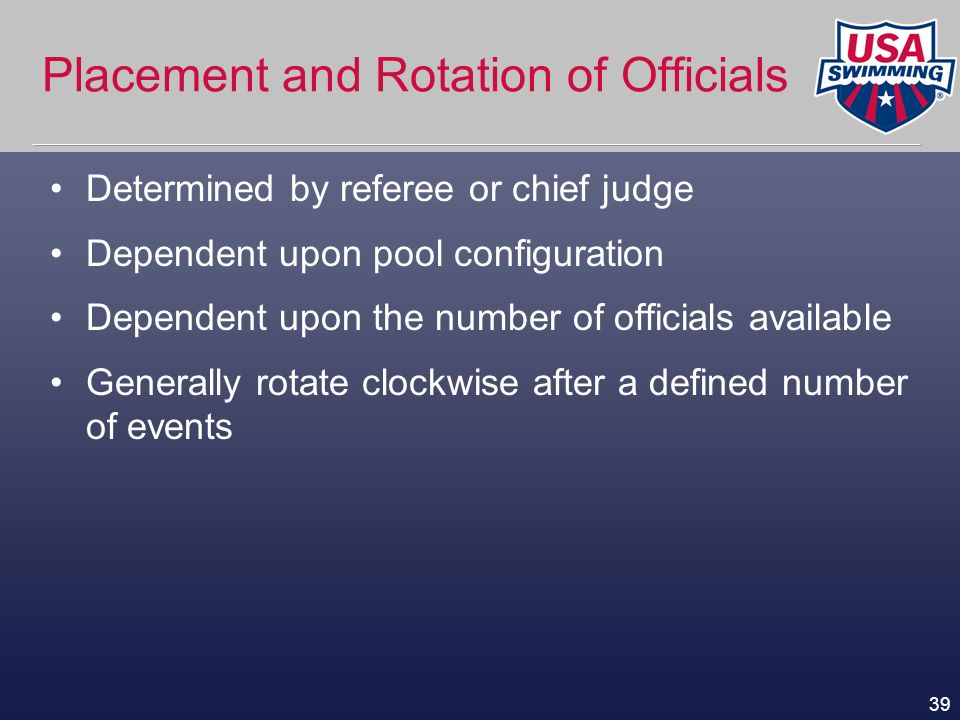 Placement and Rotation of Officials