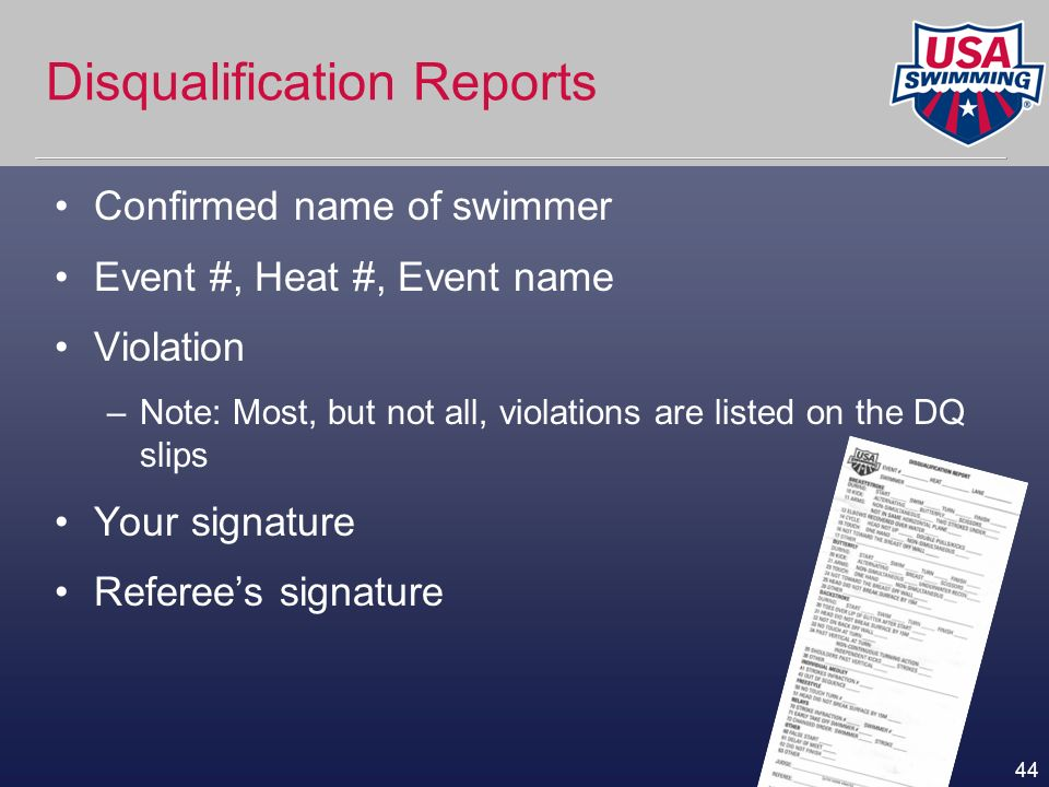Disqualification Reports