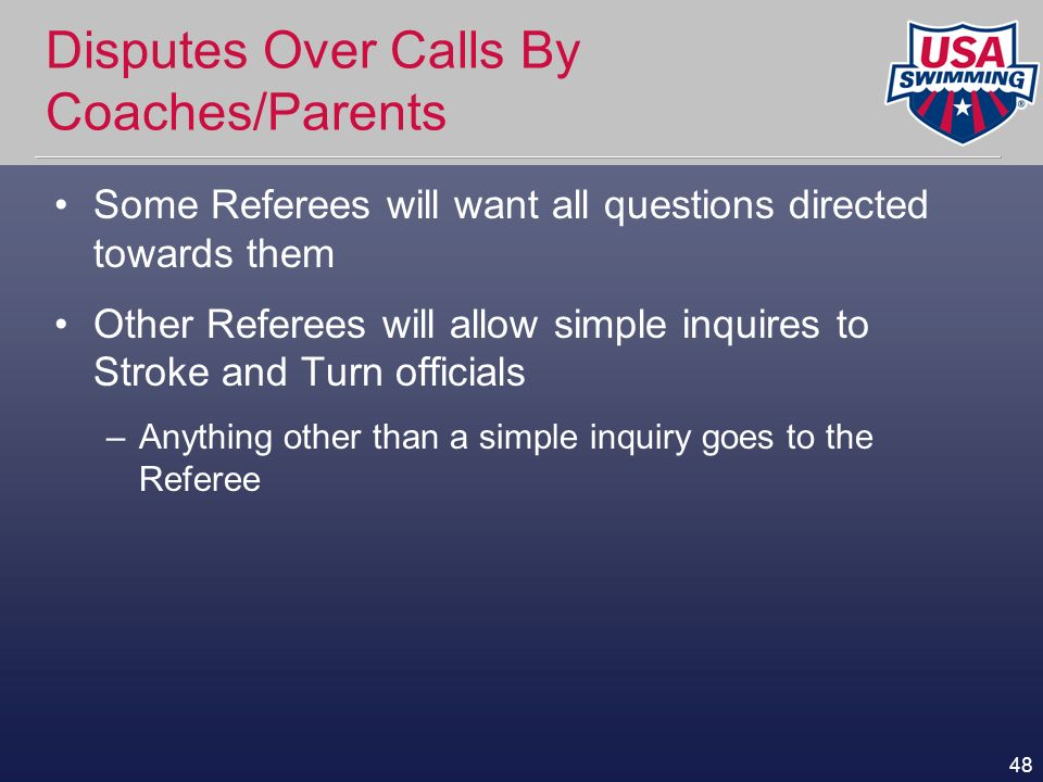 Disputes Over Calls By Coaches/Parents