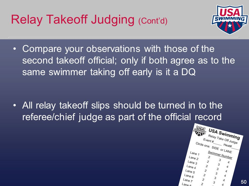 Relay Takeoff Judging (Cont'd)