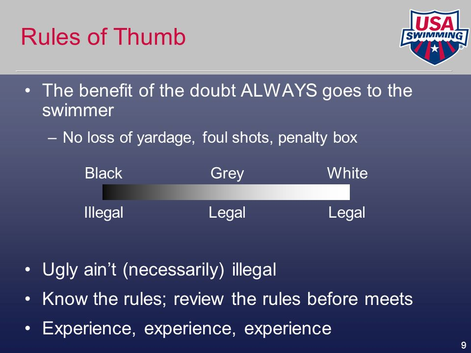 Rules of Thumb The benefit of the doubt ALWAYS goes to the swimmer