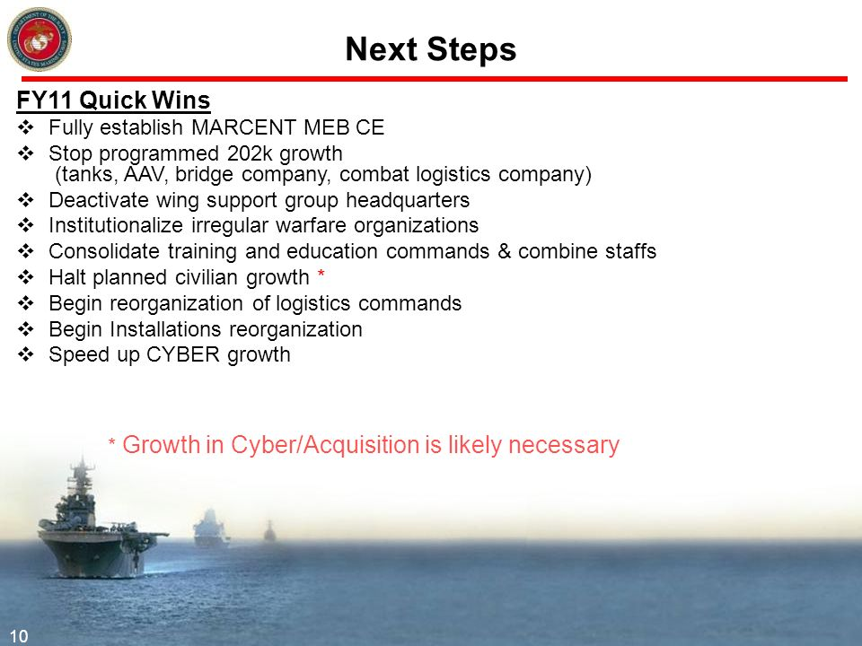 Next Steps FY11 Quick Wins Fully establish MARCENT MEB CE