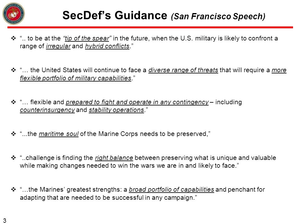 SecDef's Guidance (San Francisco Speech)