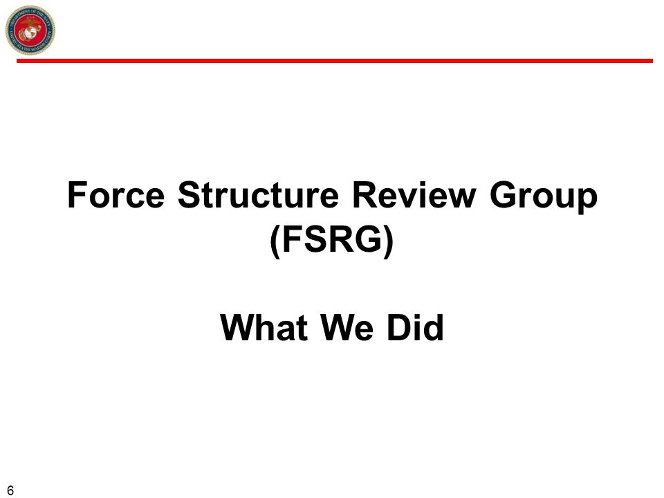 Force Structure Review Group (FSRG) What We Did