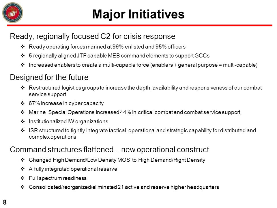 Major Initiatives Ready, regionally focused C2 for crisis response