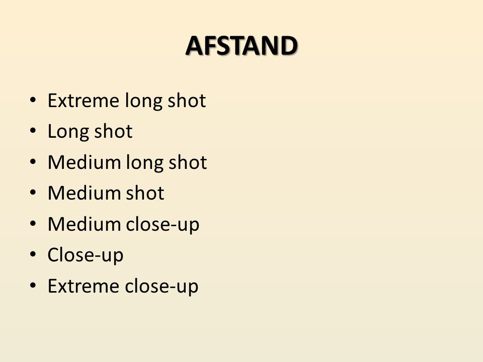 AFSTAND Extreme long shot Long shot Medium long shot Medium shot