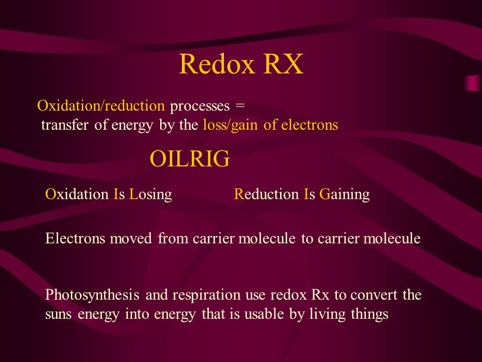 Redox RX OILRIG Oxidation/reduction processes =