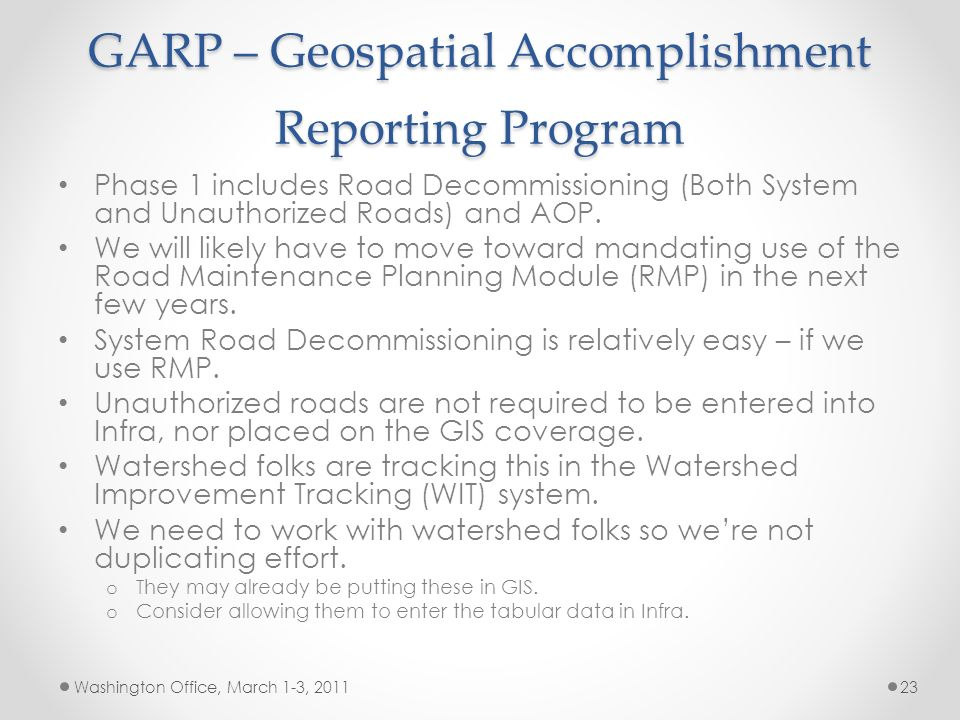 GARP – Geospatial Accomplishment Reporting Program