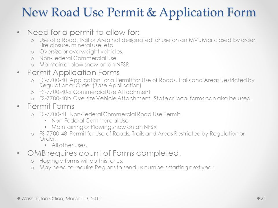 New Road Use Permit & Application Form