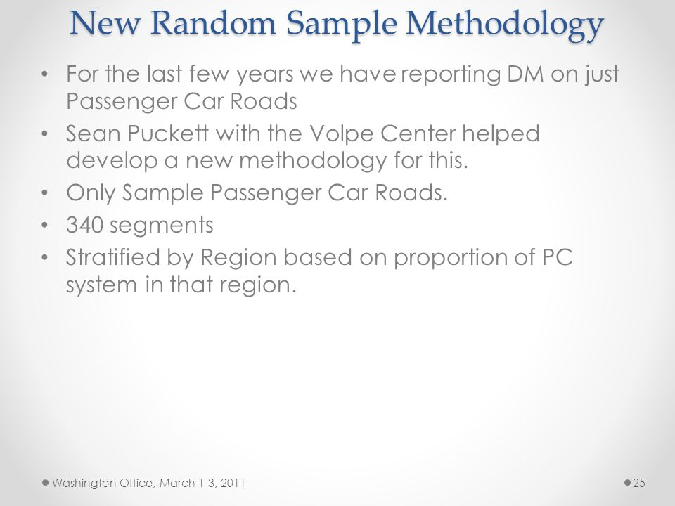 New Random Sample Methodology