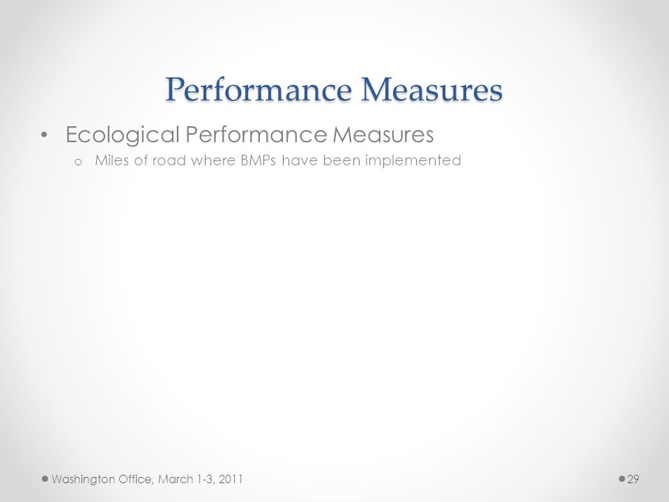 Performance Measures Ecological Performance Measures