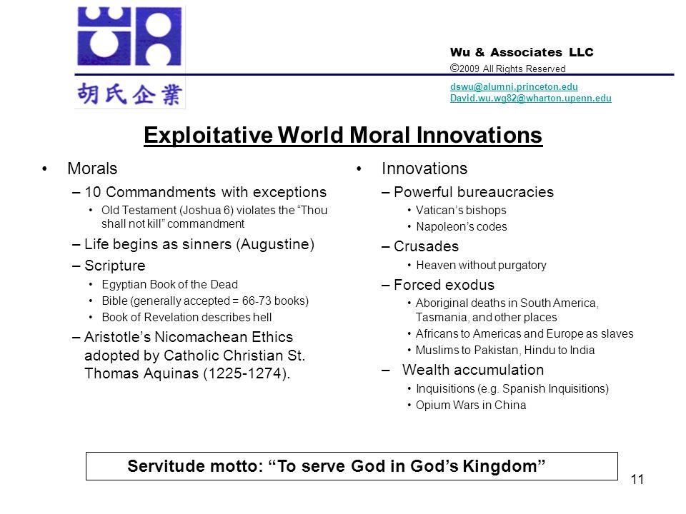 Exploitative World Moral Innovations