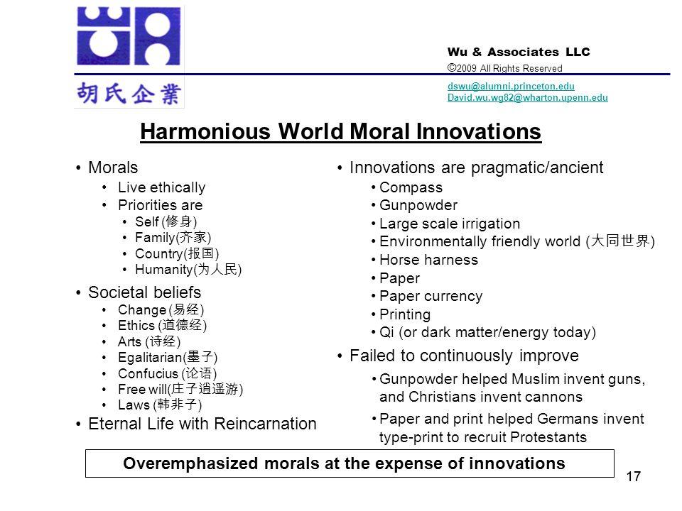 Harmonious World Moral Innovations