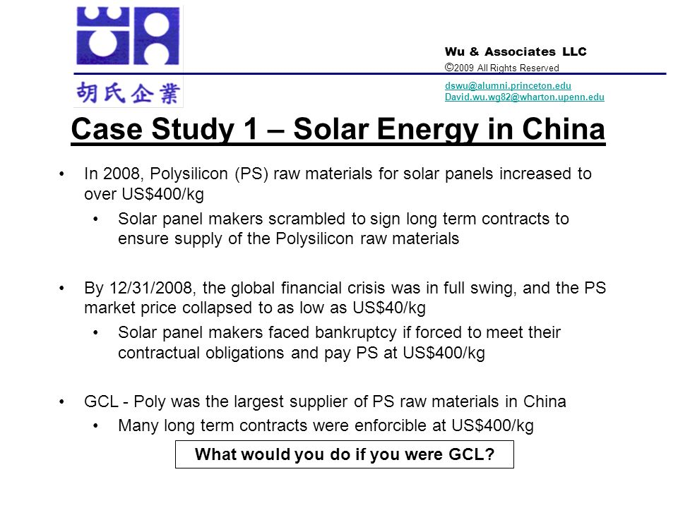 Case Study 1 – Solar Energy in China