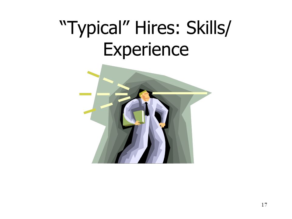 Typical Hires: Skills/ Experience