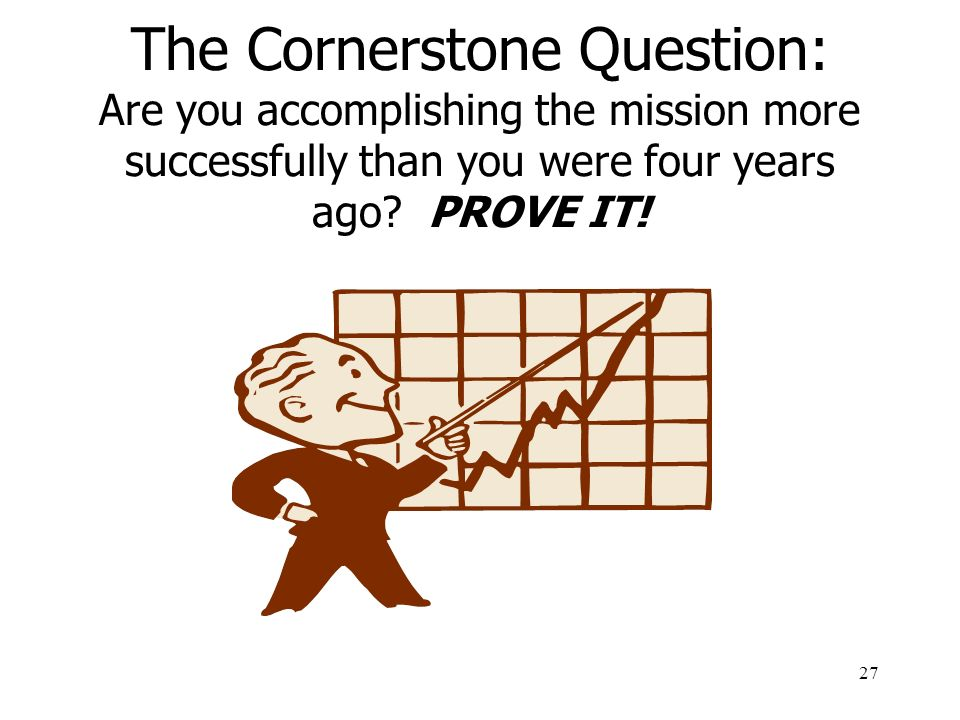 The Cornerstone Question: Are you accomplishing the mission more successfully than you were four years ago.